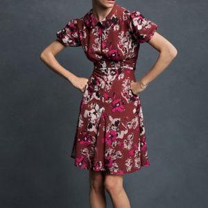 Puff Sleeve Waist Band Mid Length Floral Dress